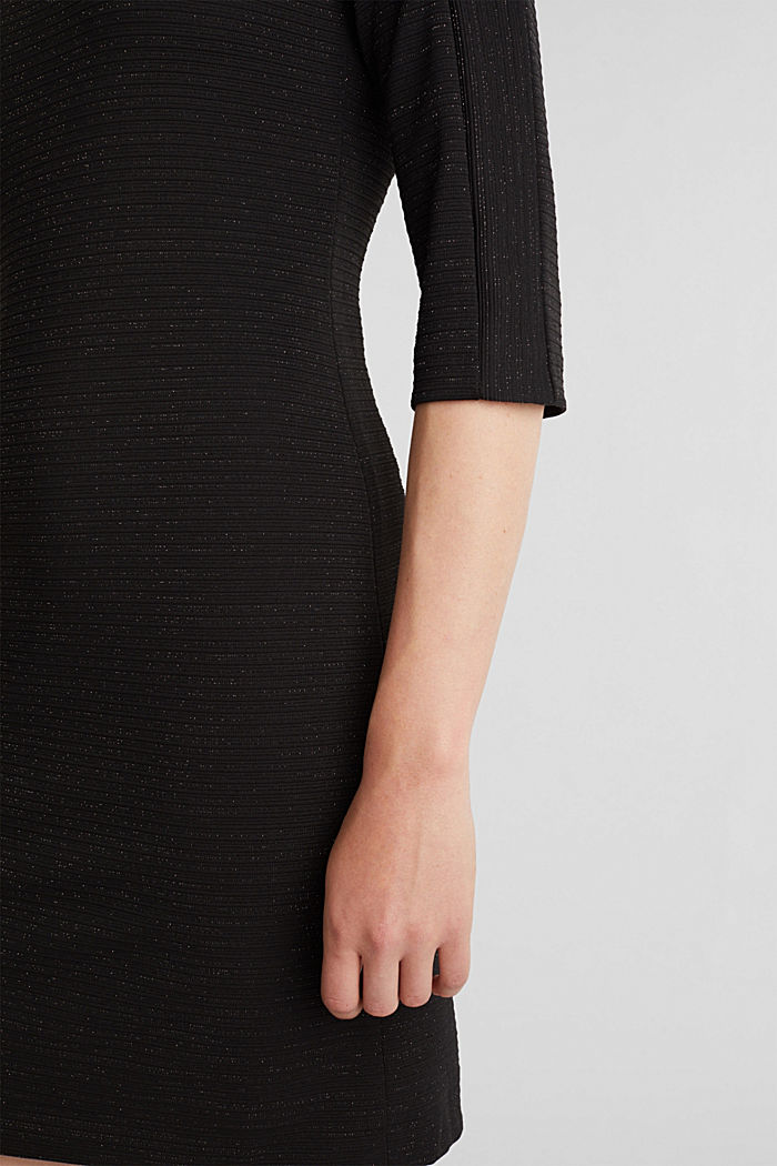 Stretch shift dress with lurex, BLACK, detail image number 5