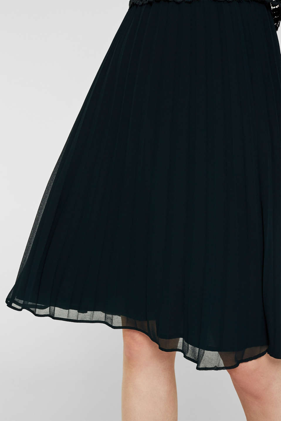 Lace dress with a pleated skirt, DARK TEAL GREEN, detail image number 3