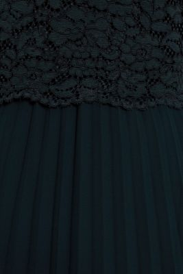 Lace dress with a pleated skirt, DARK TEAL GREEN, detail