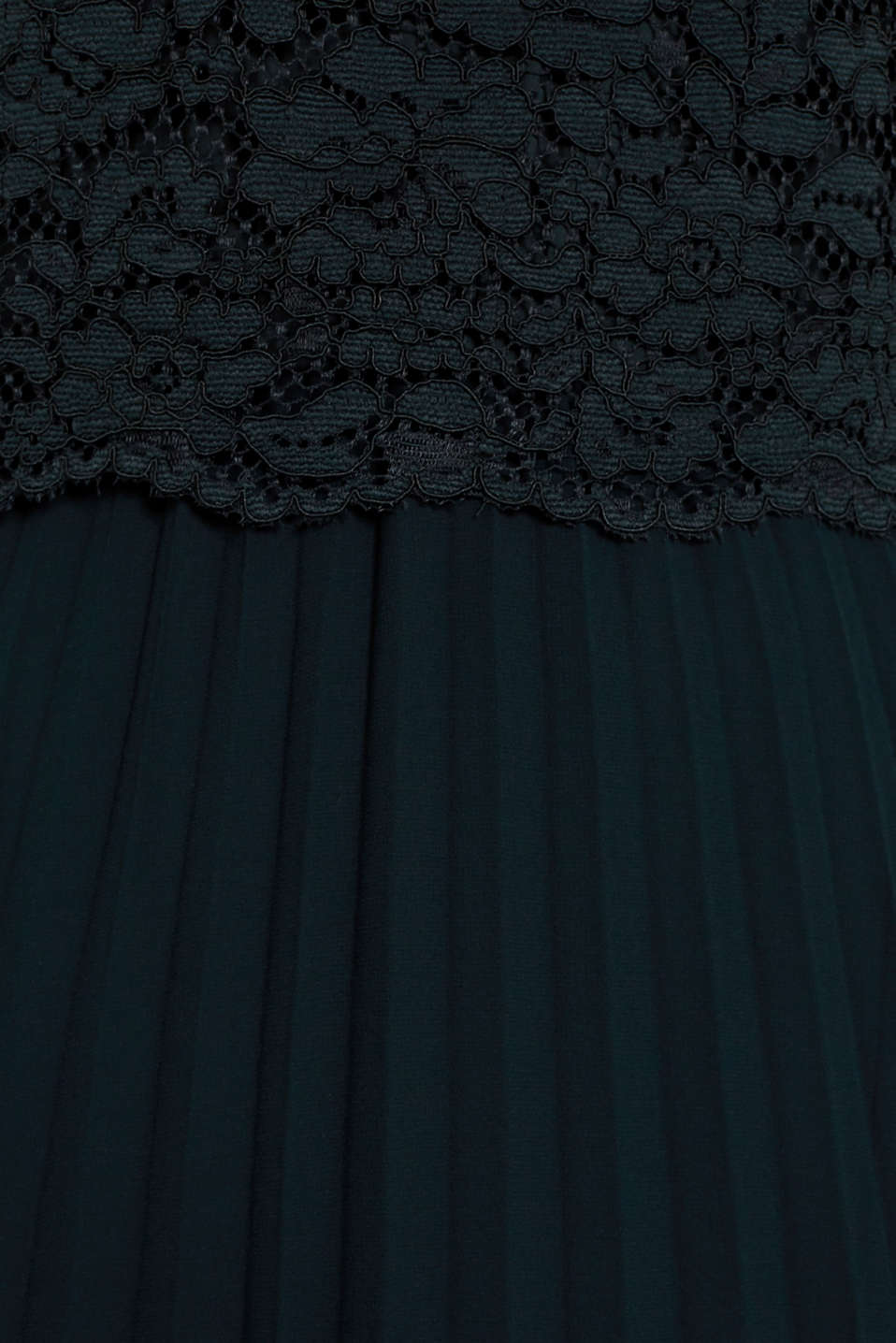 Lace dress with a pleated skirt, DARK TEAL GREEN, detail image number 4