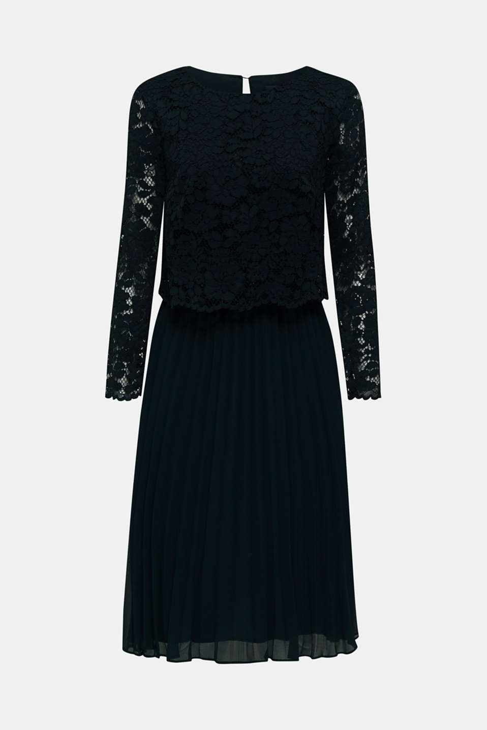 Lace dress with a pleated skirt, DARK TEAL GREEN, detail image number 5