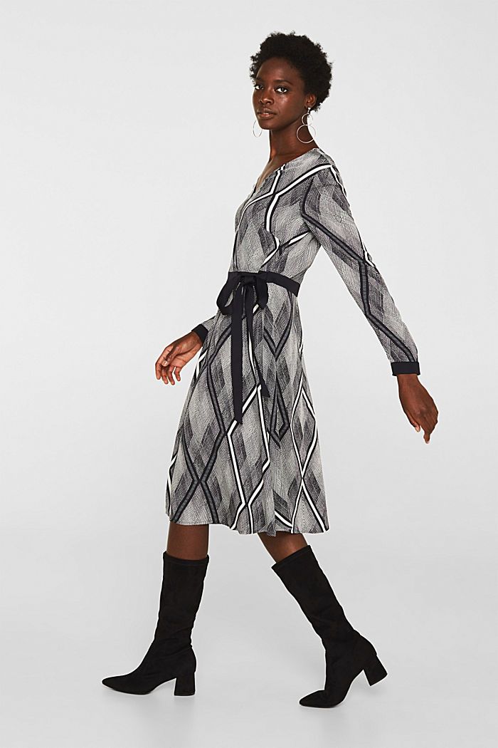 Dress in a wrap-over effect with a geometric print, BLACK, detail image number 0