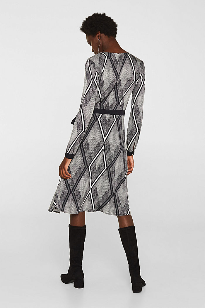 Dress in a wrap-over effect with a geometric print, BLACK, detail image number 2