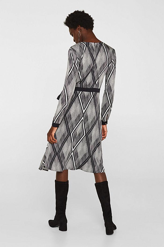 Kleid in Wickel-Optik mit Graphic-Print, BLACK, detail image number 2