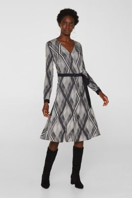 Dress in a wrap-over effect with a geometric print, BLACK 3, detail