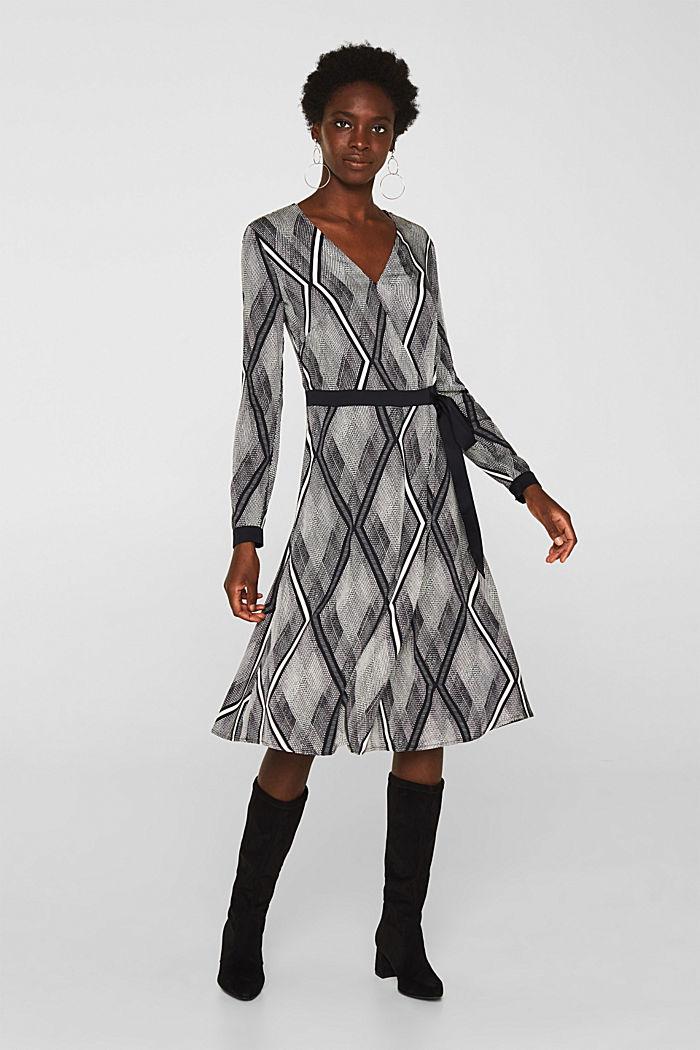 Kleid in Wickel-Optik mit Graphic-Print, BLACK, detail image number 1