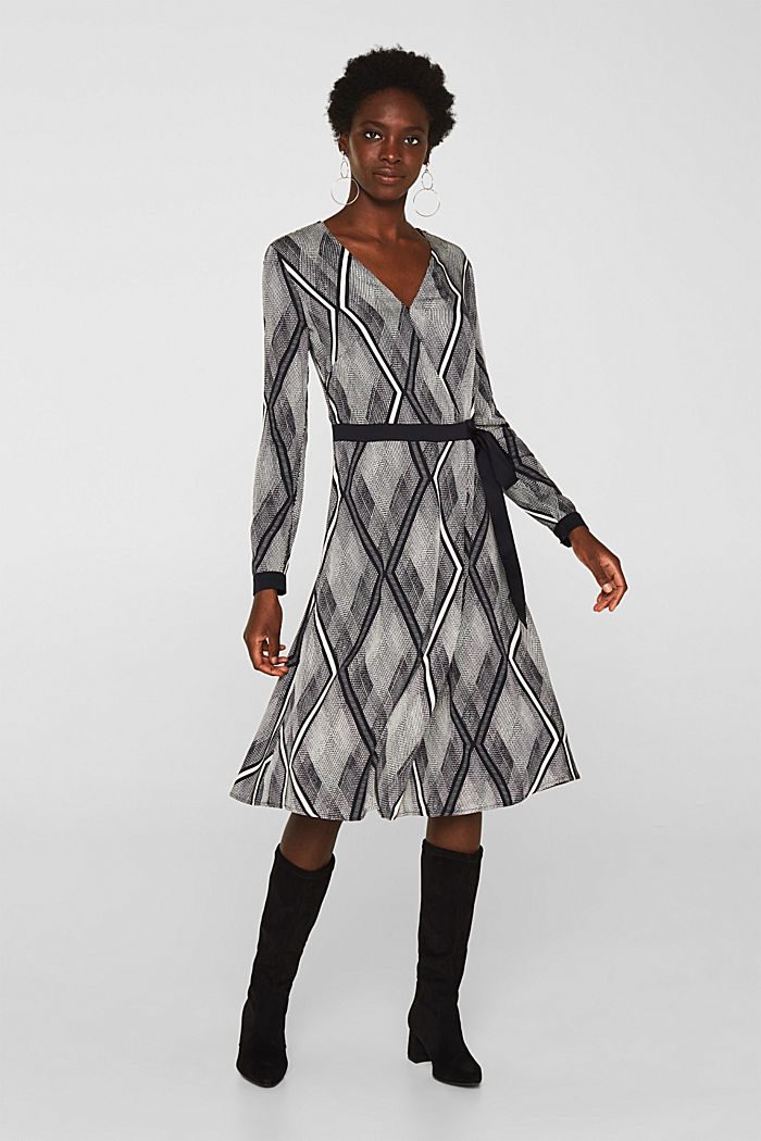 Kleid in Wickel-Optik mit Graphic-Print