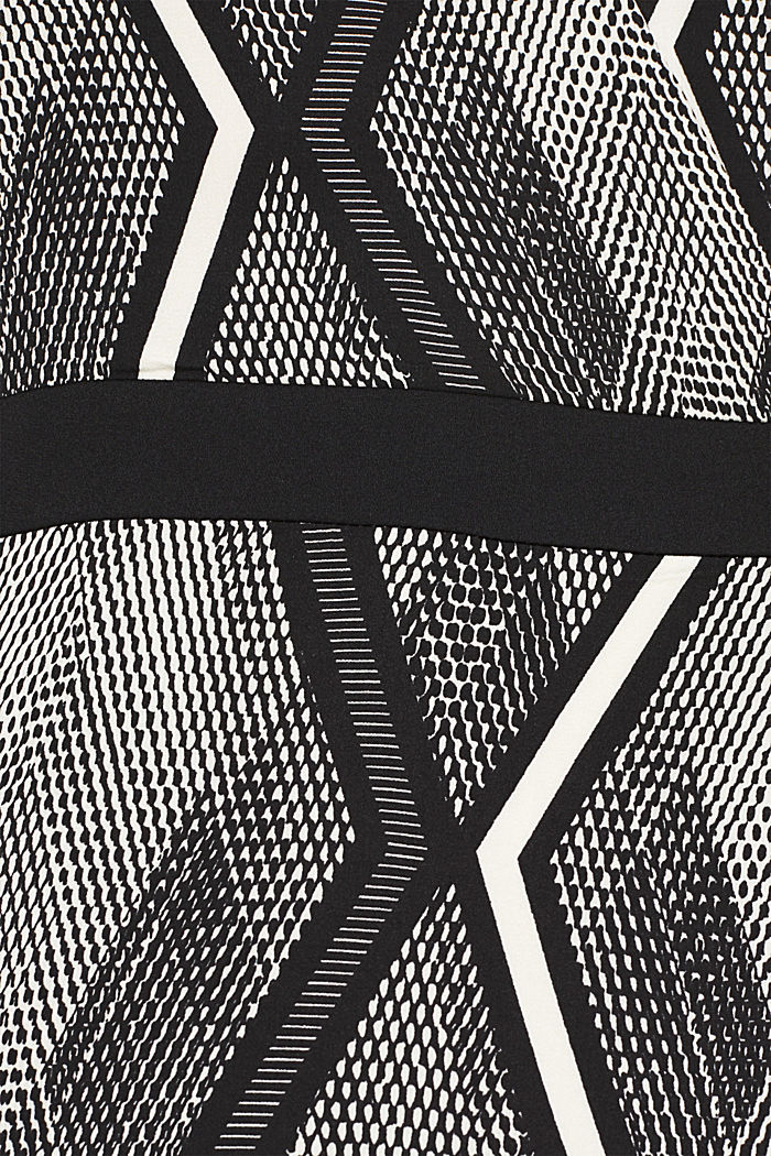 Dress in a wrap-over effect with a geometric print, BLACK, detail image number 4