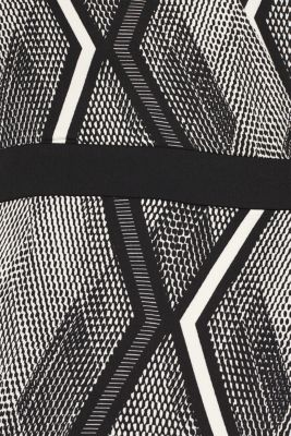 Dress in a wrap-over effect with a geometric print, BLACK, detail