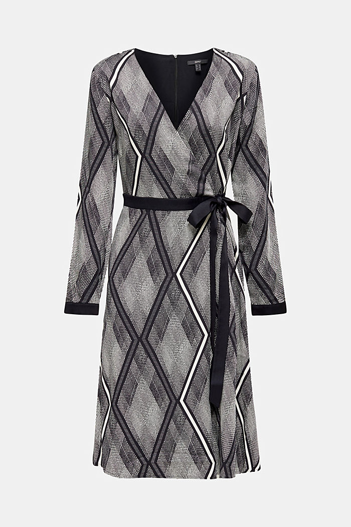 Dress in a wrap-over effect with a geometric print