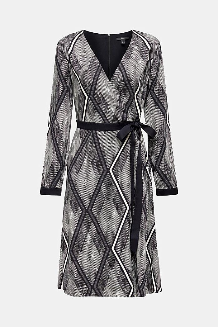 Kleid in Wickel-Optik mit Graphic-Print, BLACK, detail image number 5