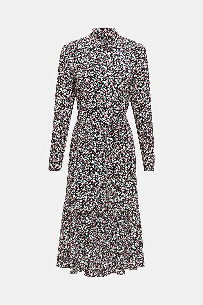 Shirt dress with a flounce skirt, BLACK, detail image number 0