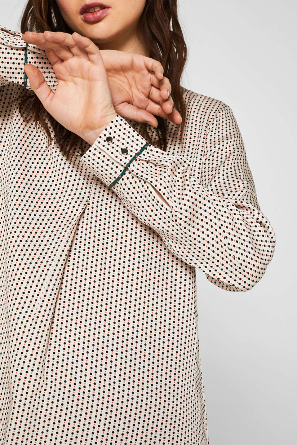 Printed blouse with a decorative metal element, OFF WHITE 4, detail image number 2
