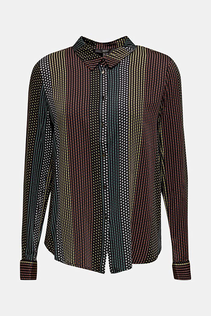 Overhemdblouse met miniprint, BLACK 3, detail image number 0