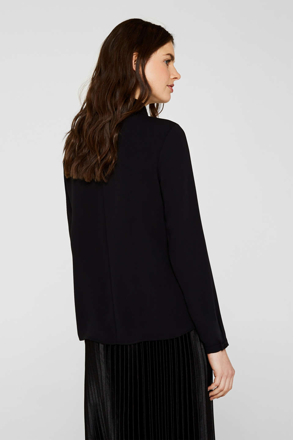 Polo neck blouse, BLACK, detail image number 3
