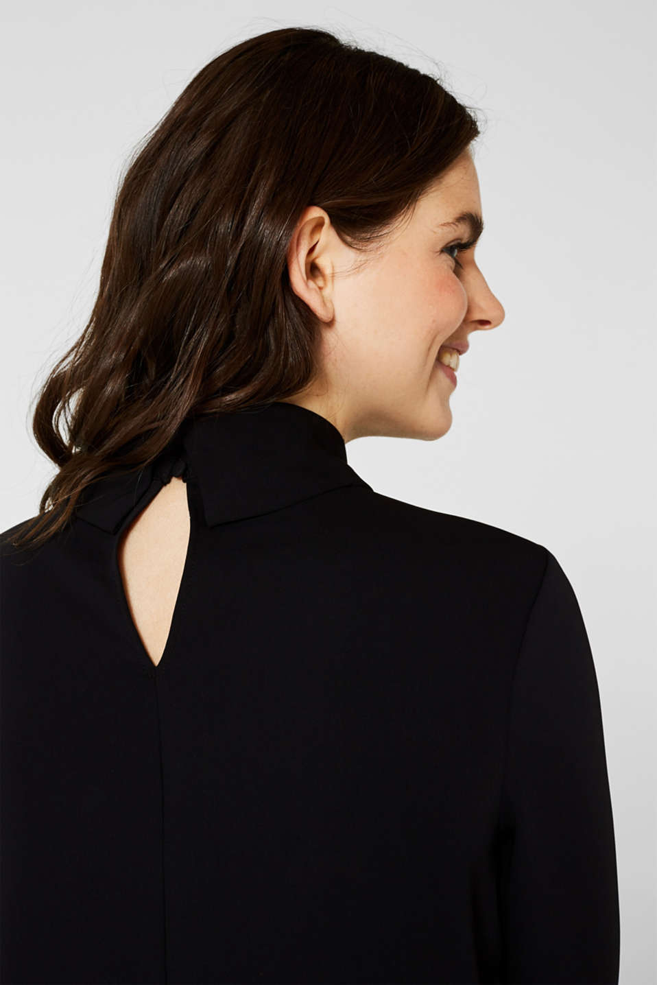 Polo neck blouse, BLACK, detail image number 2