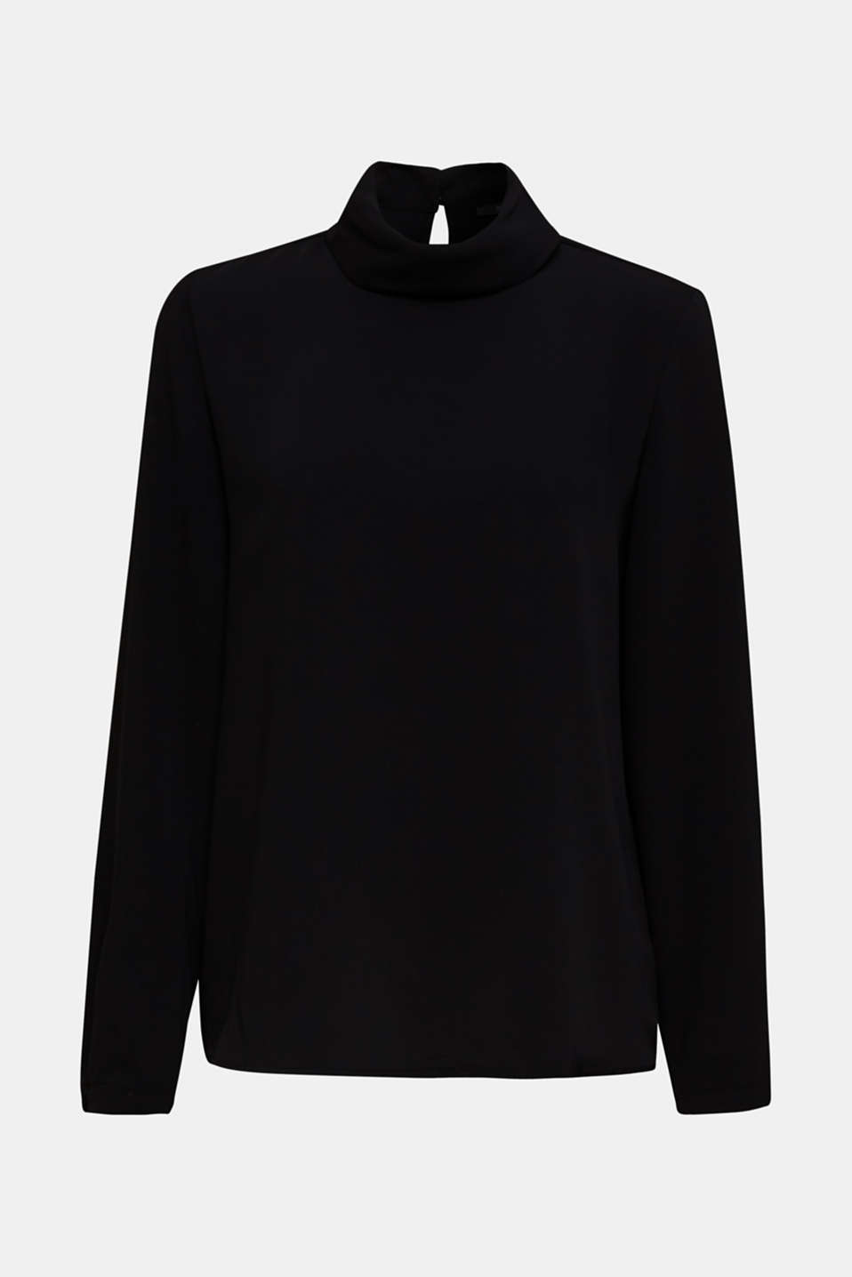 Polo neck blouse, BLACK, detail image number 7