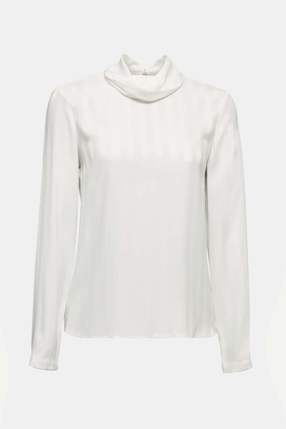Polo neck blouse with matte and shiny stripes, OFF WHITE, detail image number 6