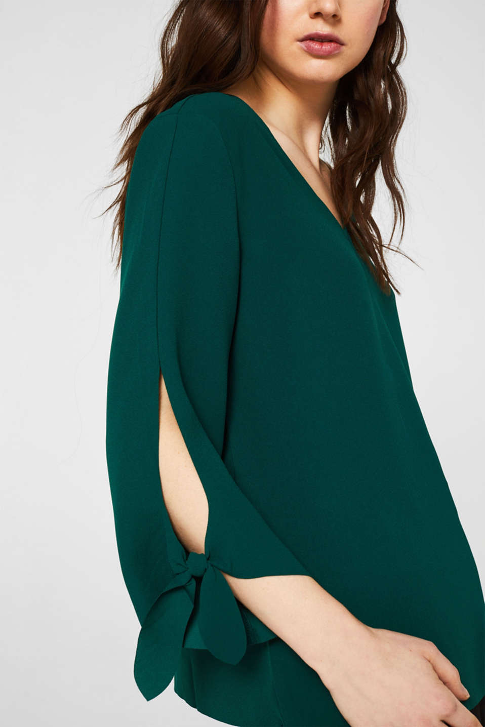 Stretch blouse with bows and unfinished edges, BOTTLE GREEN, detail image number 2