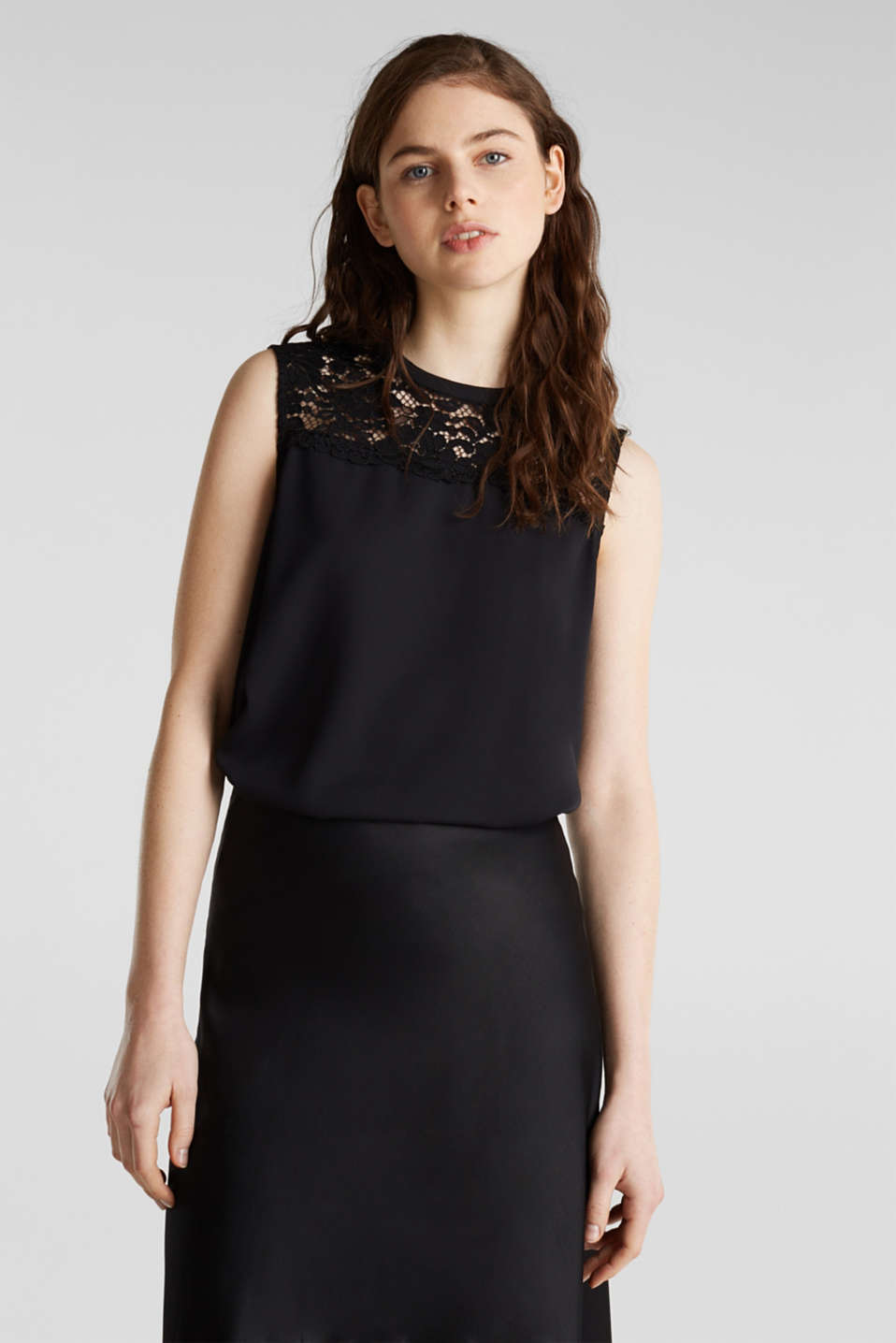Pleated blouse top with lace, BLACK, detail image number 0
