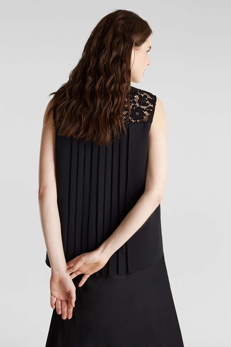 Pleated blouse top with lace, BLACK, detail image number 2