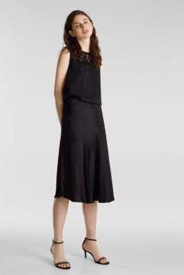 Blouse top with lace and a pleated back, BLACK, detail