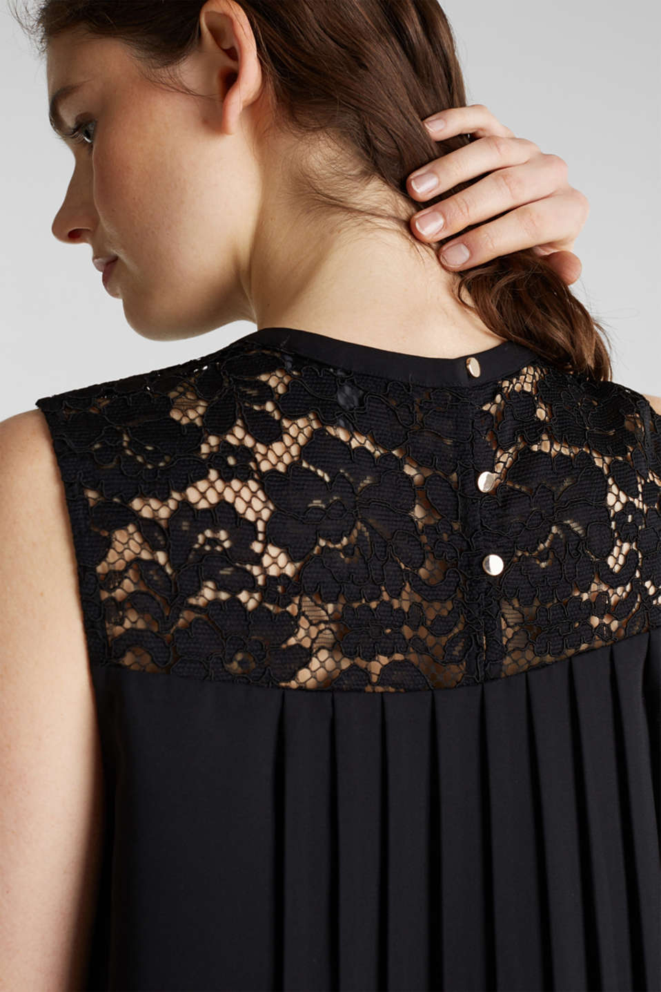 Pleated blouse top with lace, BLACK, detail image number 4