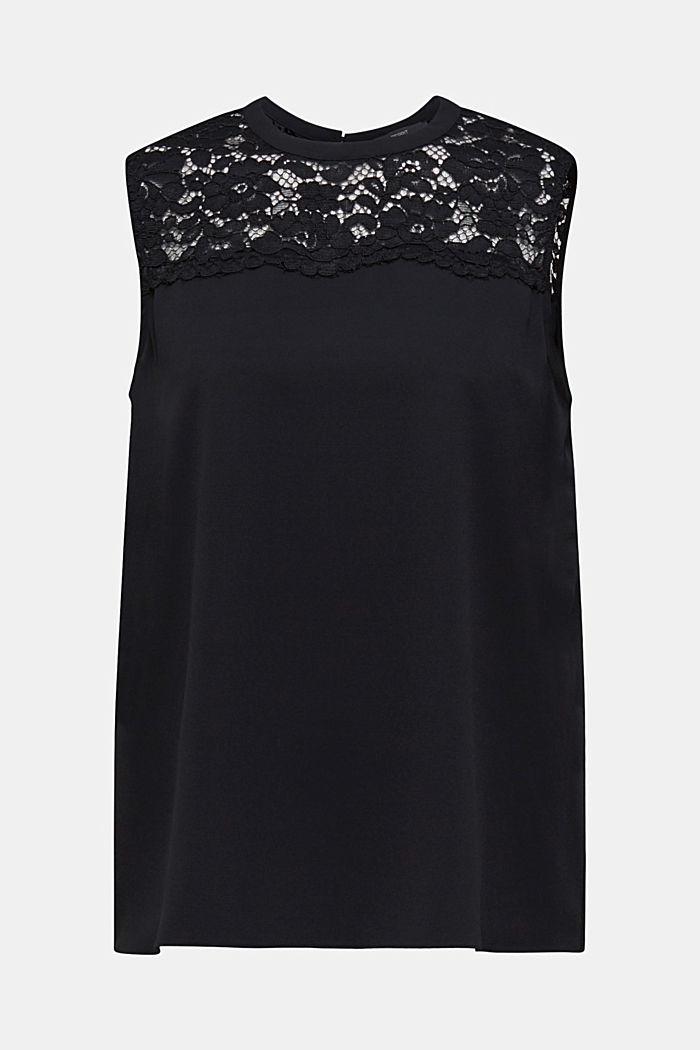 Geplisseerde blousetop met kant, BLACK, detail image number 0