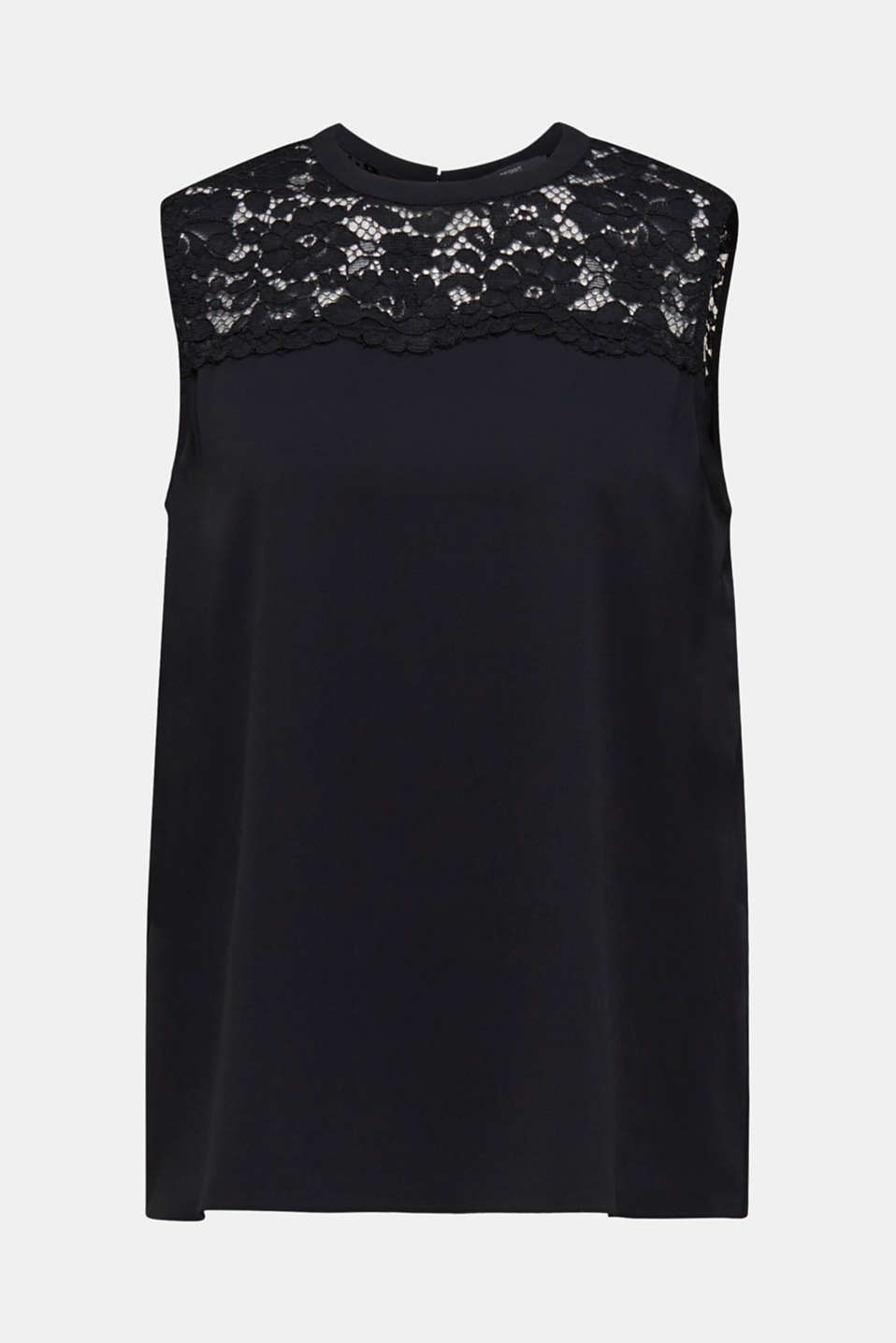 Blouse top with lace and a pleated back, BLACK, detail image number 5