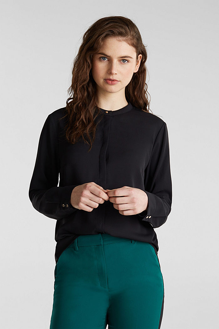 Crêpe blouse with a wrap-over effect at the back, BLACK, detail image number 0