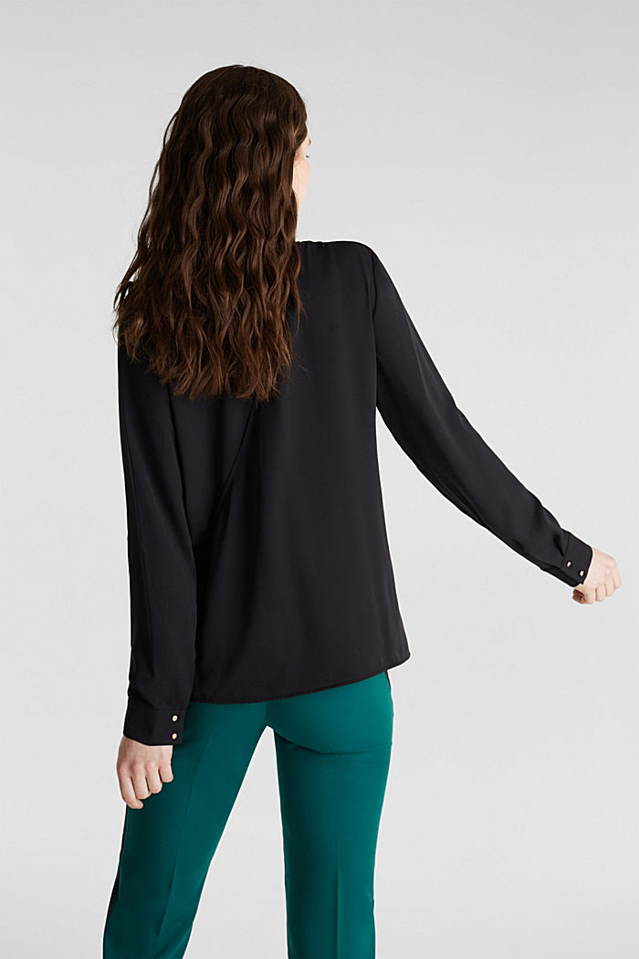 Crêpe blouse with a wrap-over effect at the back, BLACK, detail image number 2