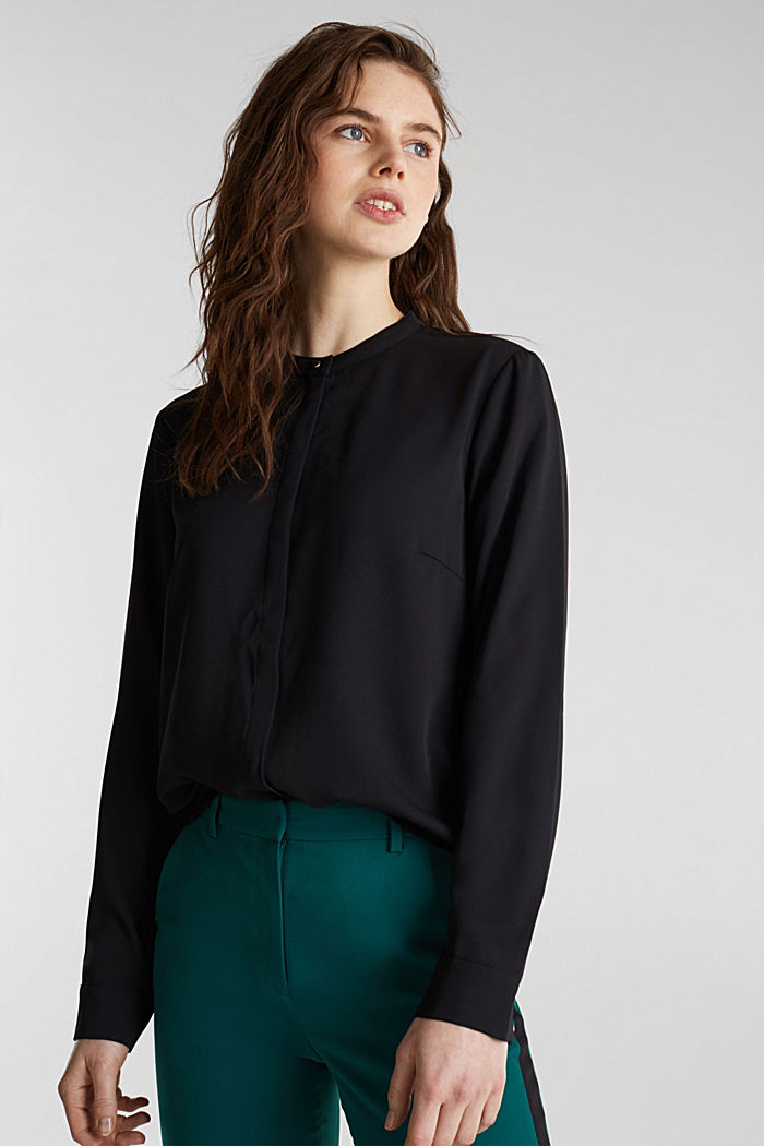 Crêpe blouse with a wrap-over effect at the back, BLACK, detail image number 5