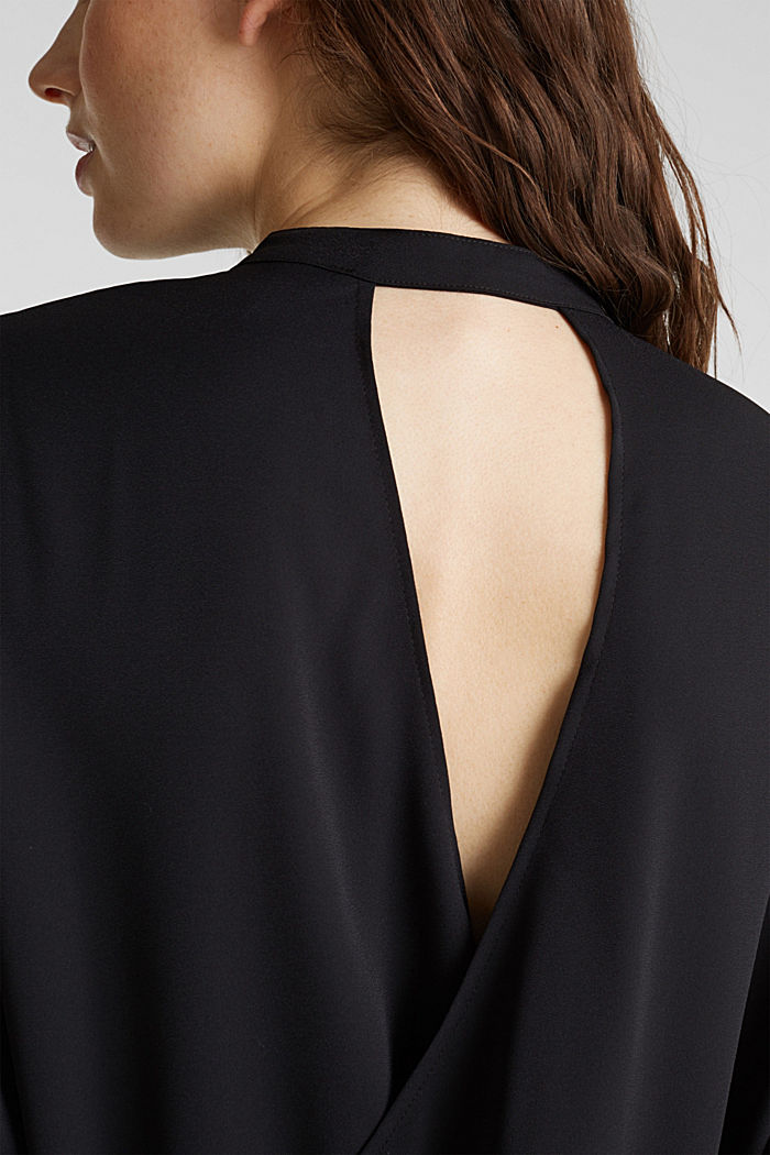 Crêpe blouse with a wrap-over effect at the back, BLACK, detail image number 4