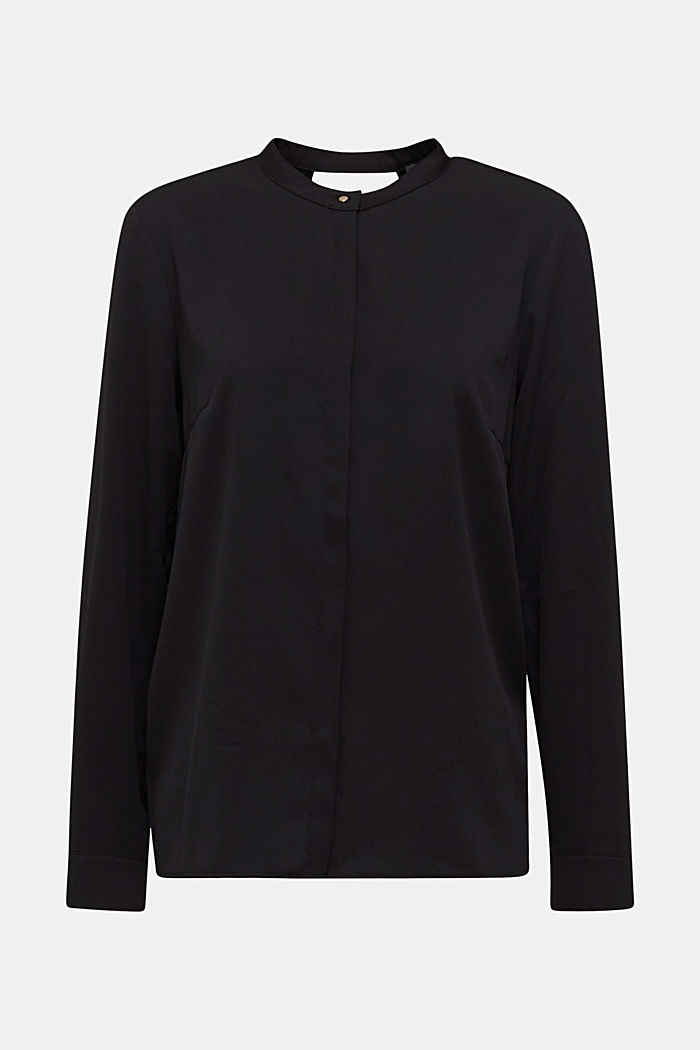 Crêpe blouse with a wrap-over effect at the back, BLACK, detail image number 6