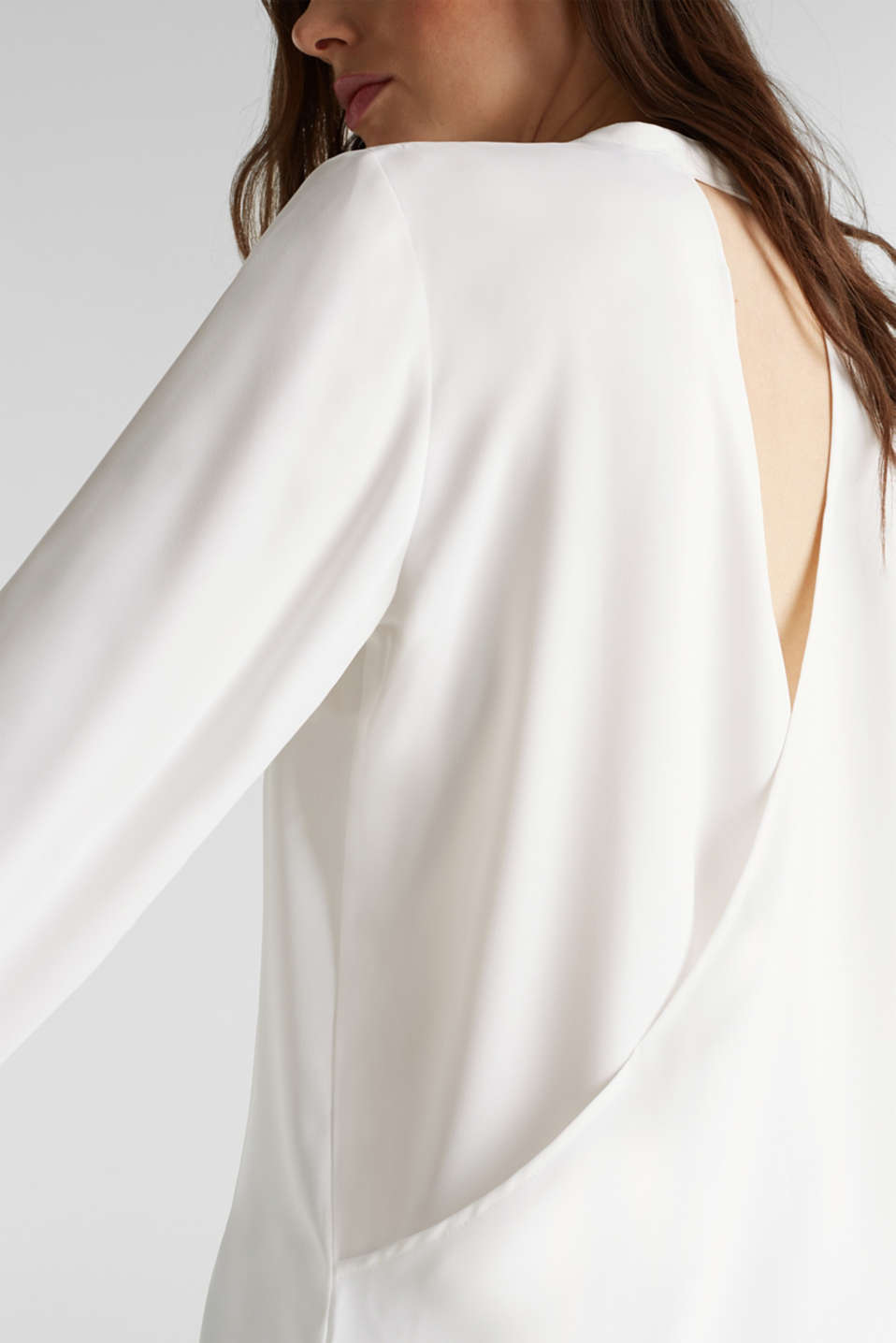 Crêpe blouse with a wrap-over effect at the back, OFF WHITE, detail image number 2