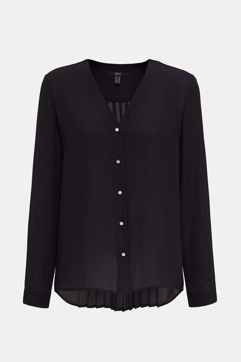 Crêpe blouse with a pleated back section, BLACK, detail image number 5