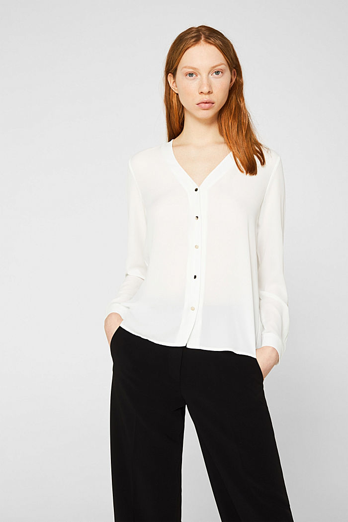 Crêpe blouse with a pleated back section, OFF WHITE, detail image number 0