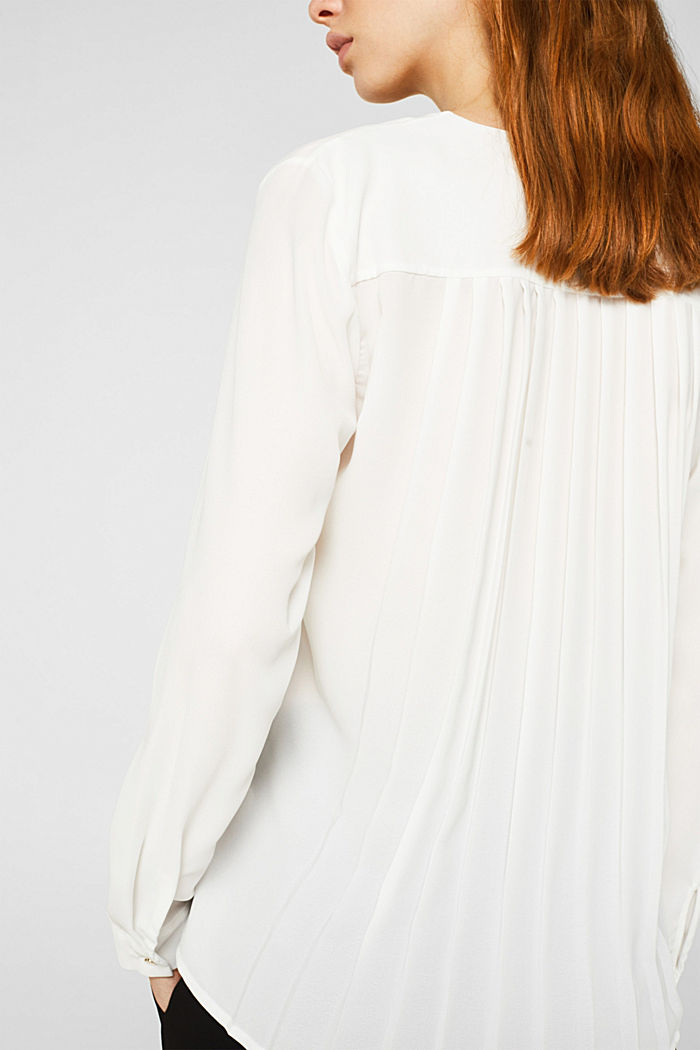 Crêpe blouse with a pleated back section, OFF WHITE, detail image number 2