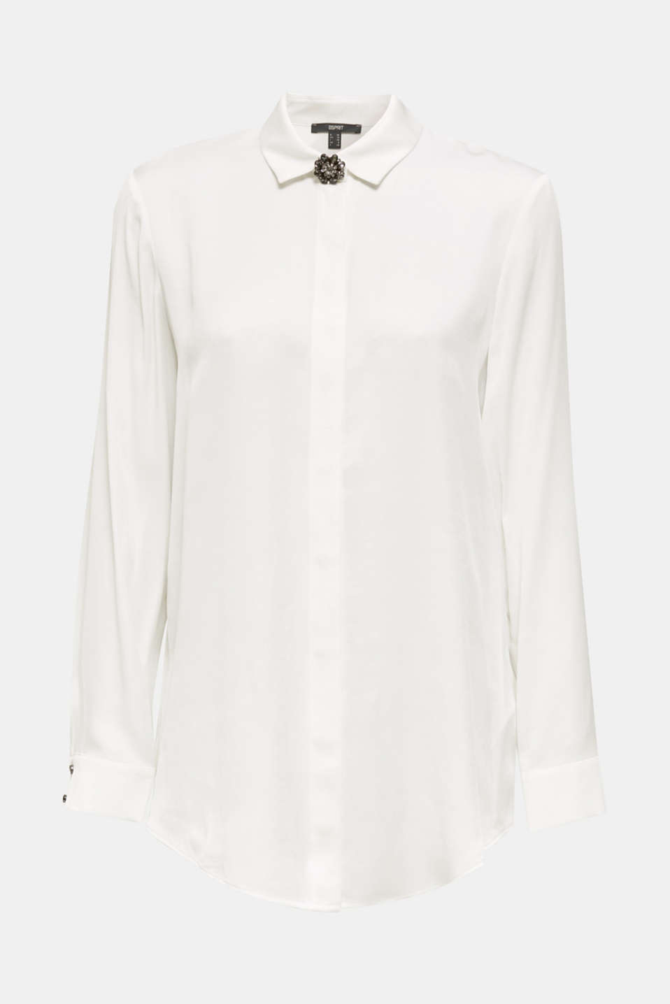 Piqué shirt blouse with a rhinestone brooch, OFF WHITE, detail image number 6