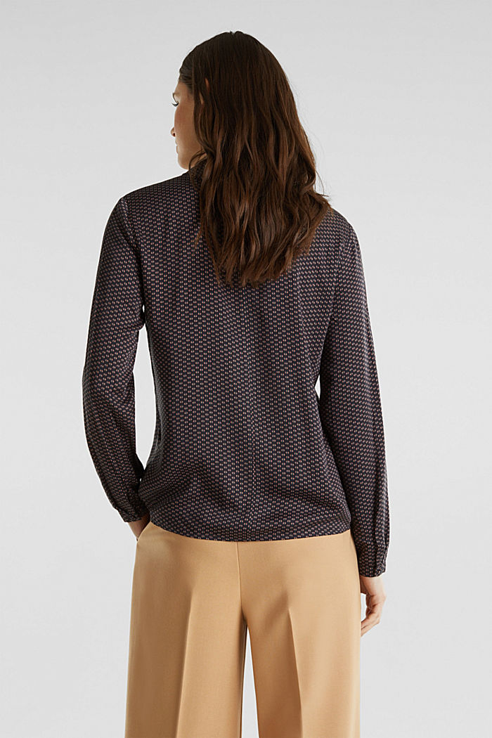 Blusa estampada fluida con cuello de solapas, NAVY, detail image number 3