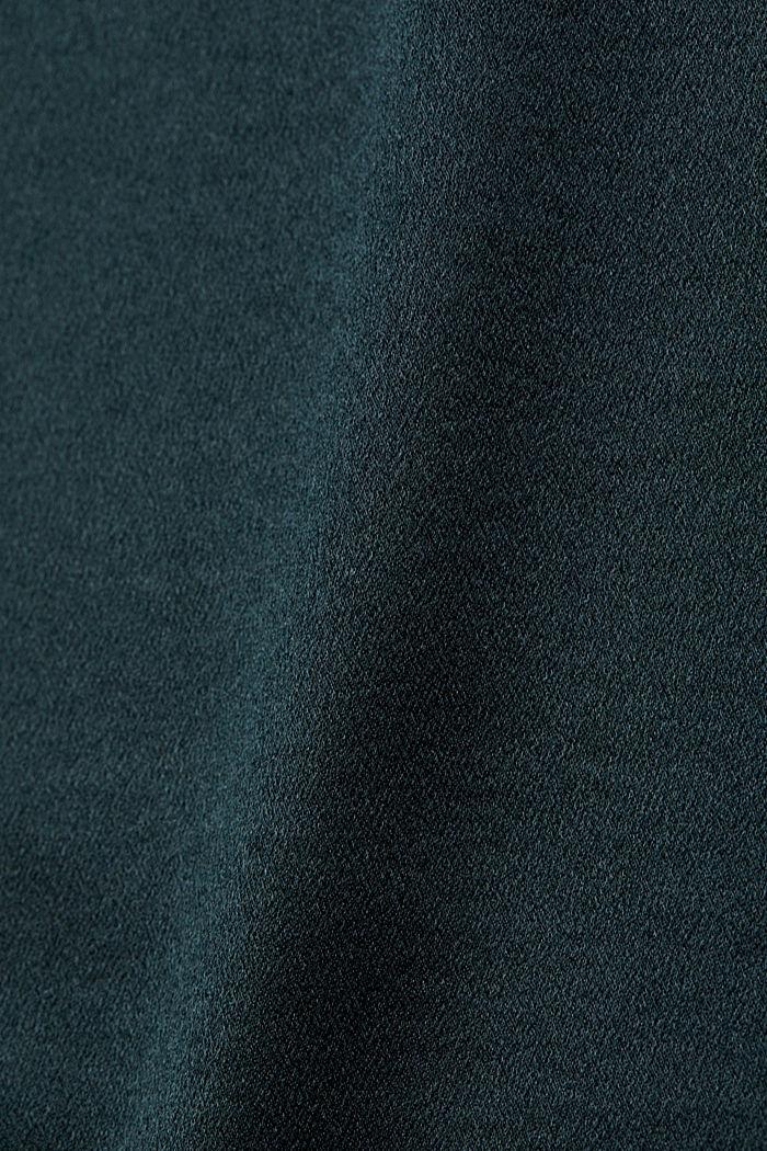 Shiny satin top, DARK TEAL GREEN, detail image number 4