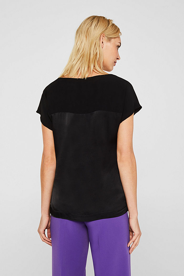 Blouse top in a shiny matte look, BLACK, detail image number 3