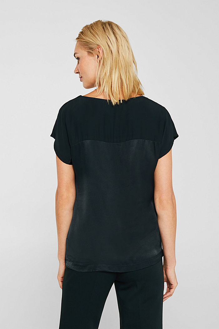 Blouse top in a shiny matte look, DARK TEAL GREEN, detail image number 2