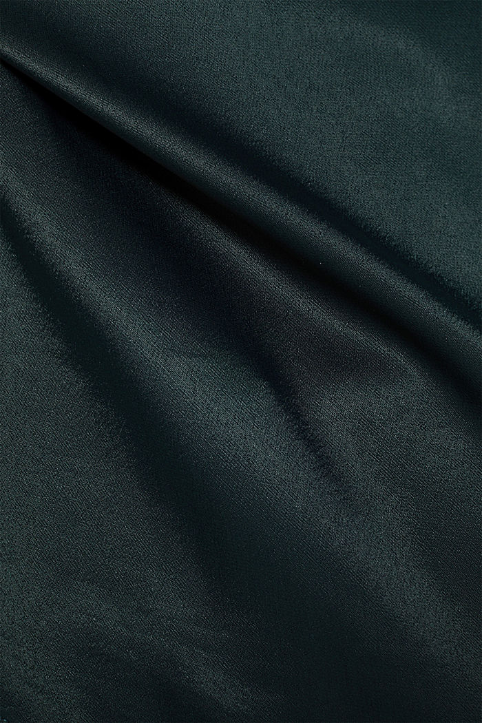 Blouse top in a shiny matte look, DARK TEAL GREEN, detail image number 3