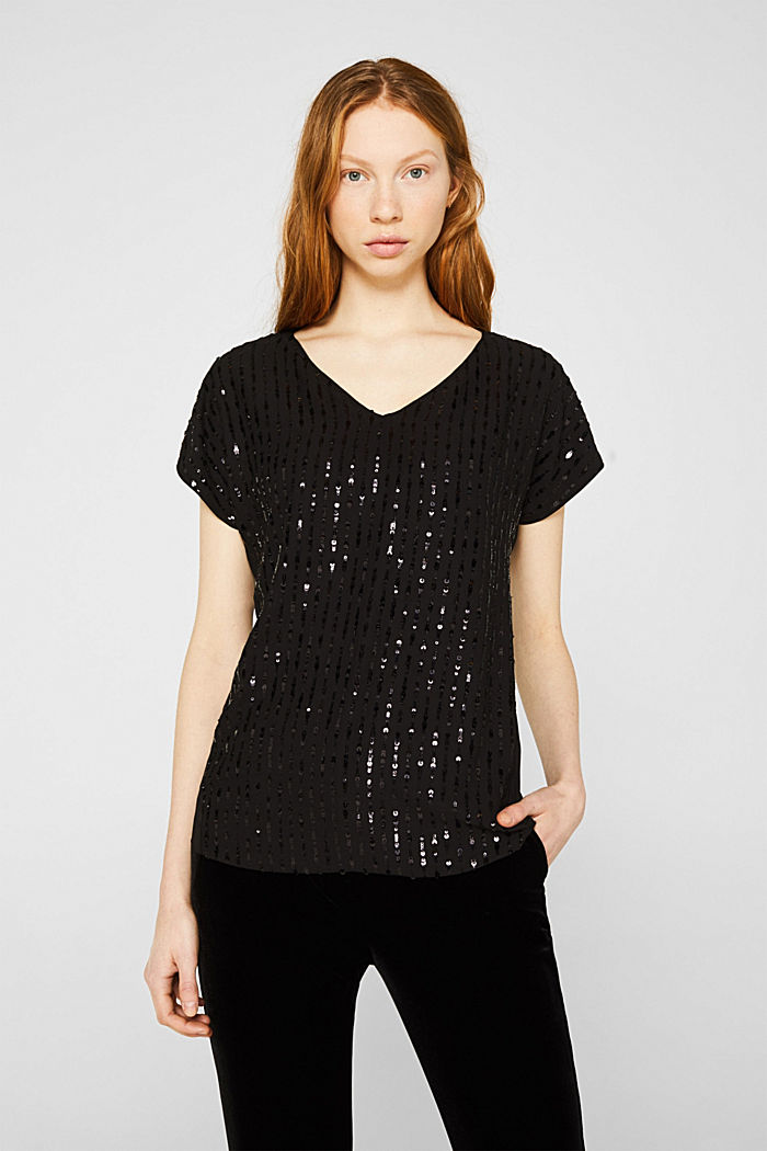 Blouse top with sequins, BLACK, detail image number 0
