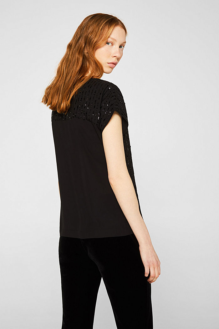 Blouse top with sequins, BLACK, detail image number 3