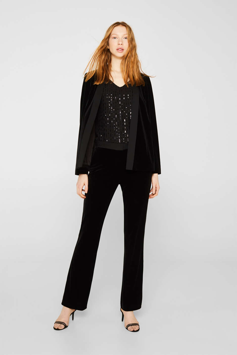 Blouse top with sequins, BLACK, detail image number 1