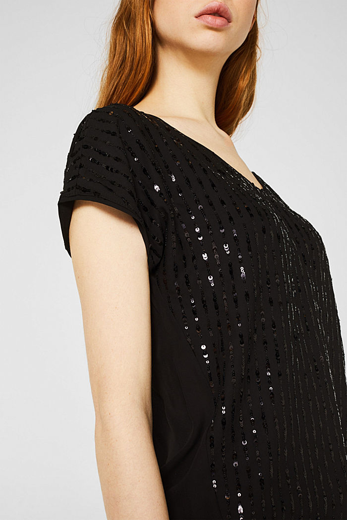 Blouse top with sequins, BLACK, detail image number 2