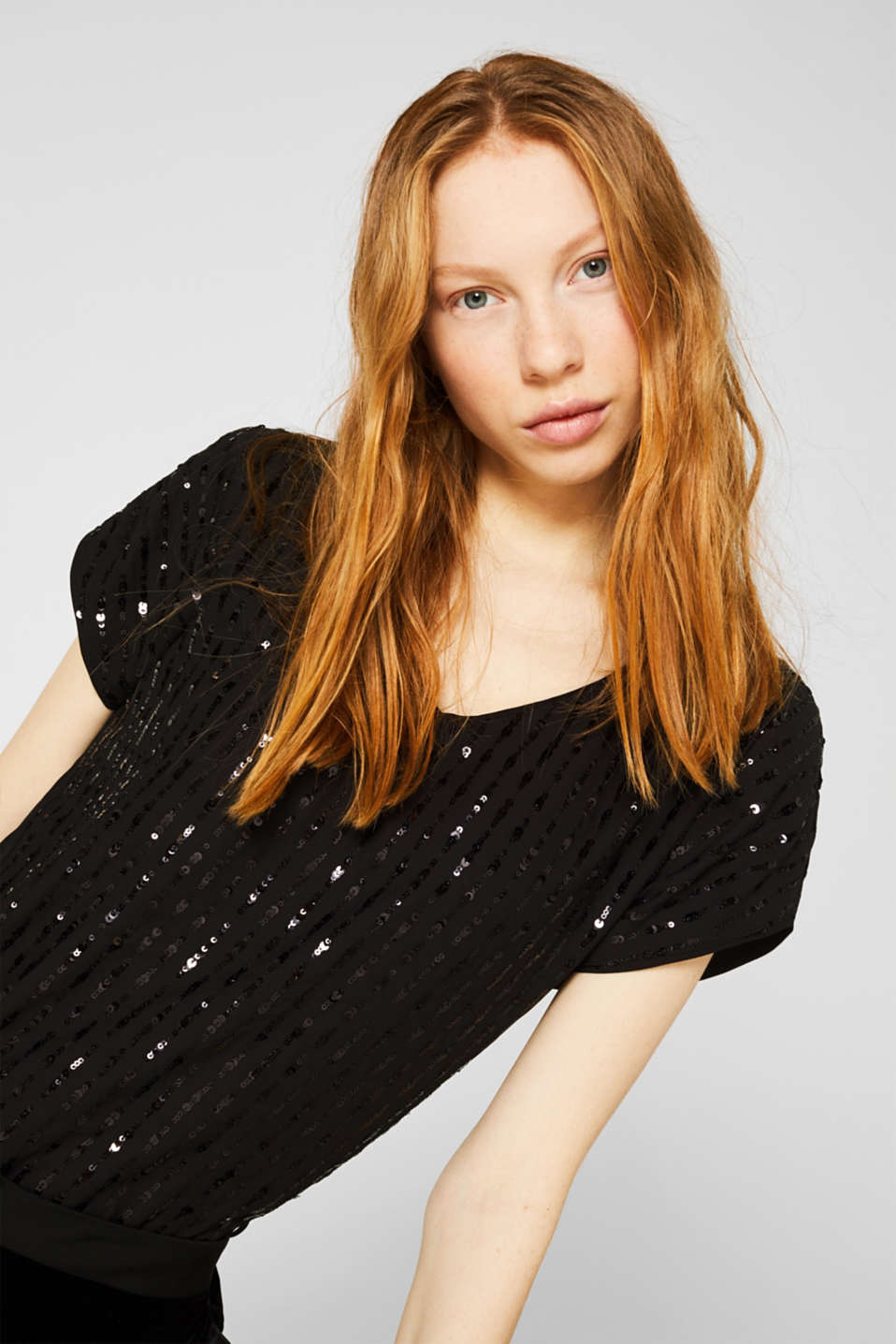 Blouse top with sequins, BLACK, detail image number 5