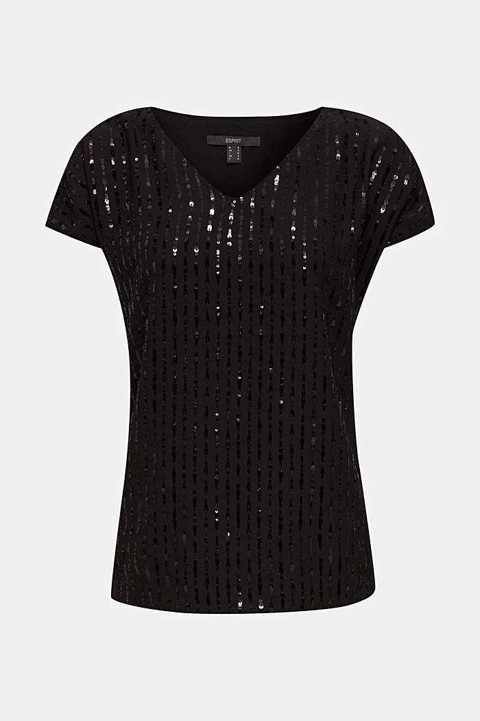 Blouse top with sequins, BLACK, detail image number 6